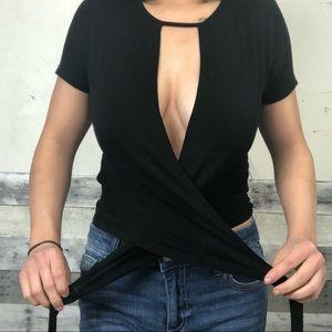 Black Front Tie Crop Top